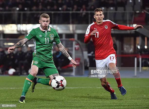 Vienna Austria 12 November 2016 James McClean of Republic of Ireland in action against Florian Klein of Austria during the FIFA World Cup Group D...