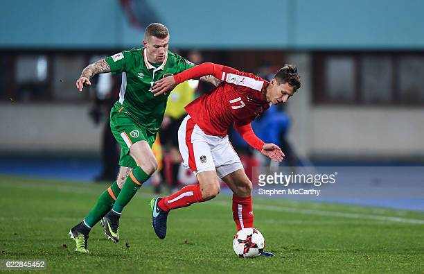 Vienna Austria 12 November 2016 James McClean of Republic of Ireland in action against Florian Klein of Austria the FIFA World Cup Group D Qualifier...