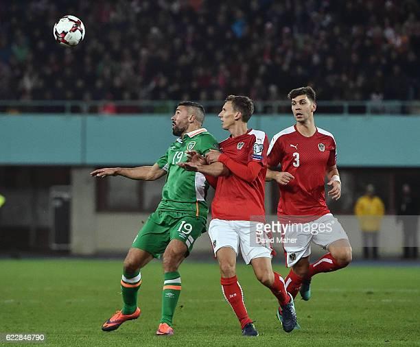 Vienna Austria 12 November 2016 Jonathan Walters of Republic of Ireland in action against Florian Klein and Aleksandar Dragovic right of Austria...