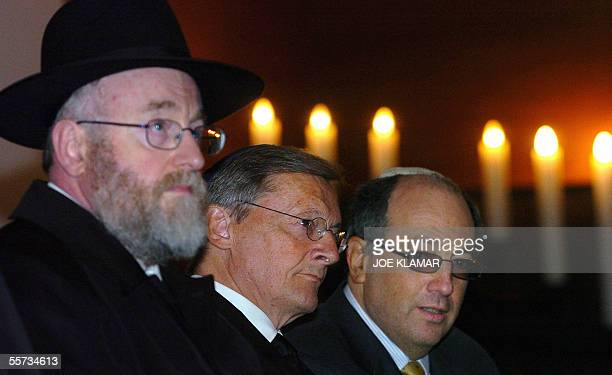 Austrian Chancellor Wolfgang Schuessel Vienna's Rabbi Haim Eisenberg and the President of the Jewish community in Vienna Ariel Muzikant listen to...