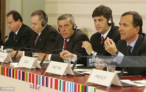 From Left Romanian Interior Minister Vasile Blaga Bosnian Security Minister Barisa Colak Montenegrin Interior Minister Jusuf Kalamperovic Serb...