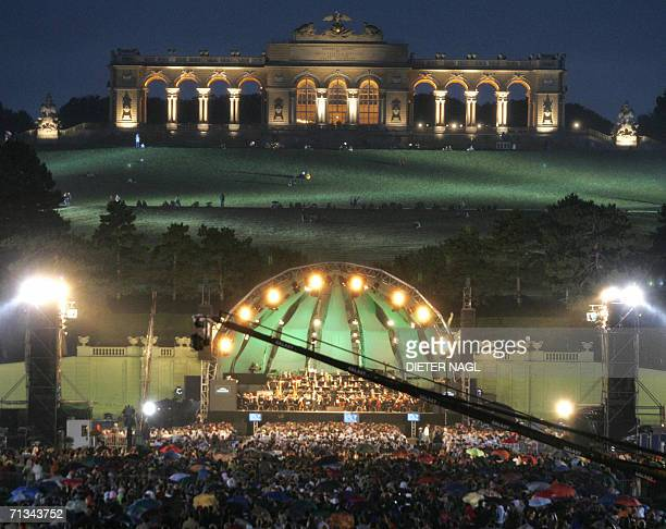 The Vienna Philharmonic Orchestra conducted by Placido Domingo performs in a 'Concert for Europe' in front of the Gloriette of Schoenbrunn castle 30...