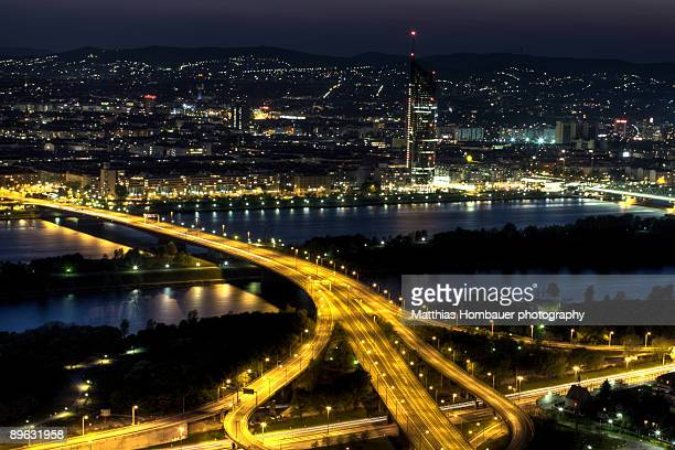 Vienna city skyline at night from above