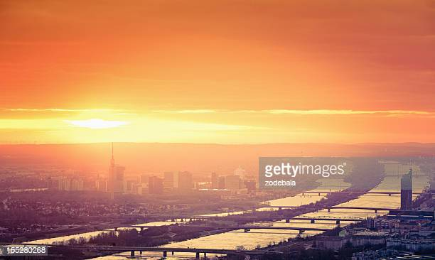 Vienna Cityscape at Sunrise, Aerial View