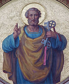 Vienna - Fresco of st. Peter the apostle from begin of 20. cent. by Josef Kastner from Carmelites church in Dobling