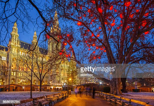 Vienna town hall at christmastime : Stock Photo