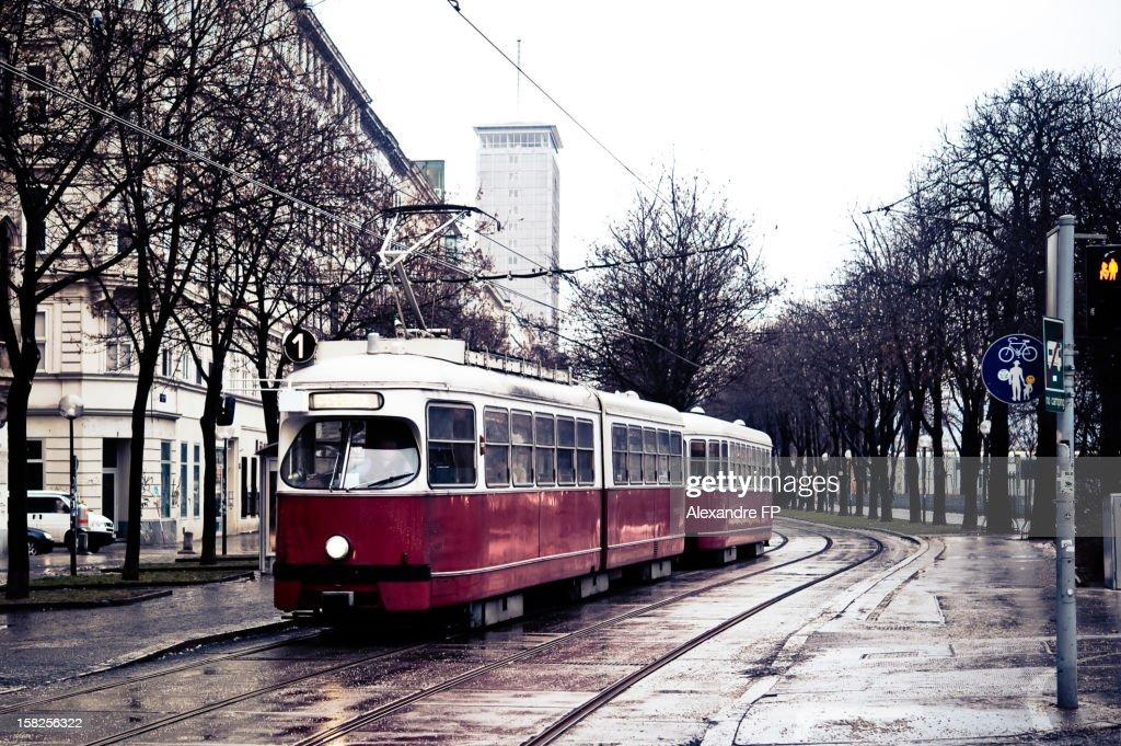 Vienna Tramway in winter : Stock Photo