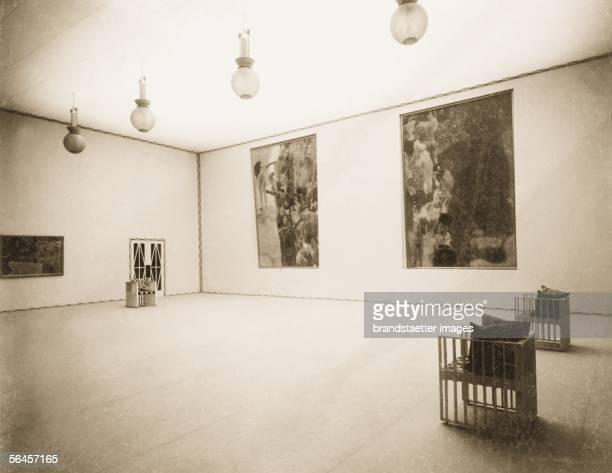 Vienna XVIII Secession exhibition main hall Collective exhibition Gustav Klimt 1903 interior design by Kolo Moser Vienna photography 1903 [Wien Der...