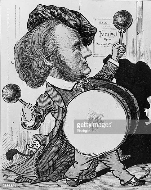 Viennese caricature of German composer Richard Wagner beating a big drum in an allusion to the bombardment of Alexandria