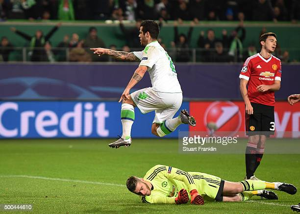 Vierinha of Wolfsburg celebrates after scoring his team's second goal during the UEFA Champions League group B match between VfL Wolfsburg and...