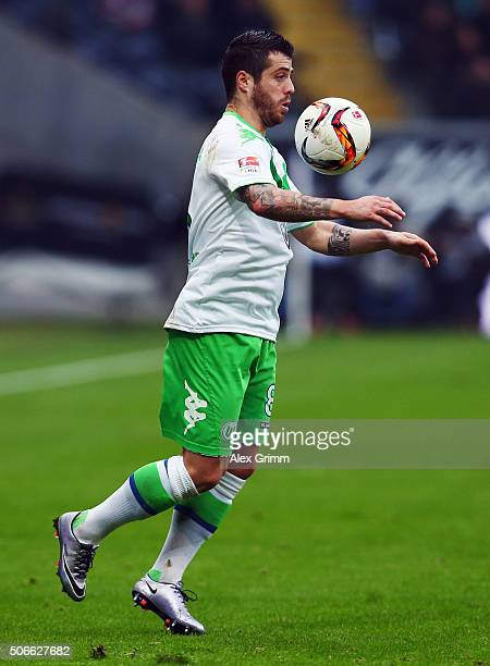 Vierinha of Wolfsburg controles the ball during the Bundesliga match between Eintracht Frankfurt and VfL Wolfsburg at CommerzbankArena on January 24...