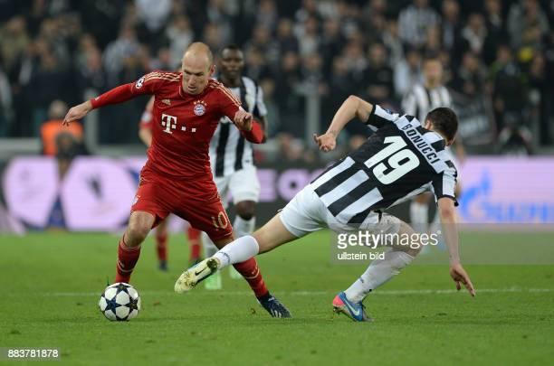 ViertelfinalRückspiel Saison 2012/2013 FUSSBALL CHAMPIONS Juventus Turin FC Bayern Muenchen Arjen Robben gegen Leonardo Bonucci