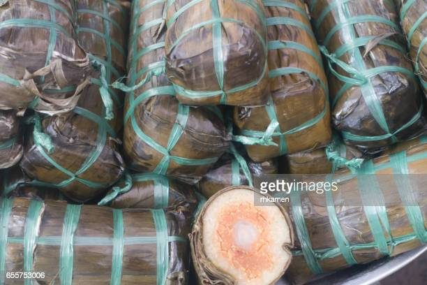Vietnam. An Giang Province, Chao Doc. Market. Sticky rice.