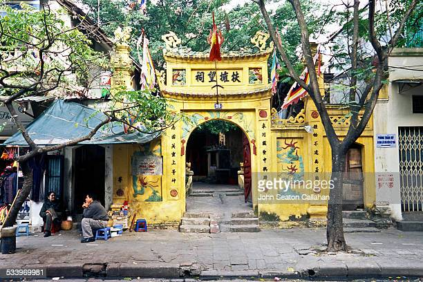 Vietnam Hanoi Hoan Kiem district old temple with Chinese characters