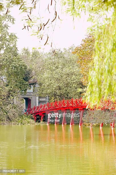 Vietnam, Hanoi, Hoan Kiem Lake and Huc Bridge
