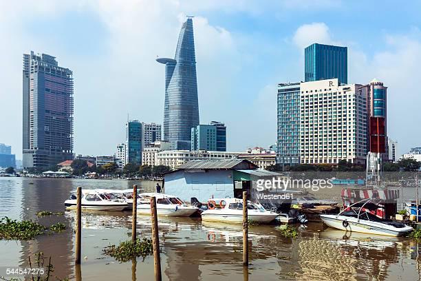 Vietnam, Ho Chi Minh City, branch of Saigon River and Bitexco Financial Tower