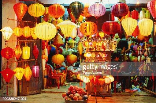 Vietnam, Hoi An, lantern shop, dusk : Stock Photo