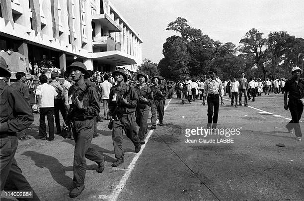 Vietnam Liberation of Ho Chi Minh in Vietnam in May 1975Public demonstration outside the Doc Lap Palace 50 000 Saigonese came to listen to the speech...