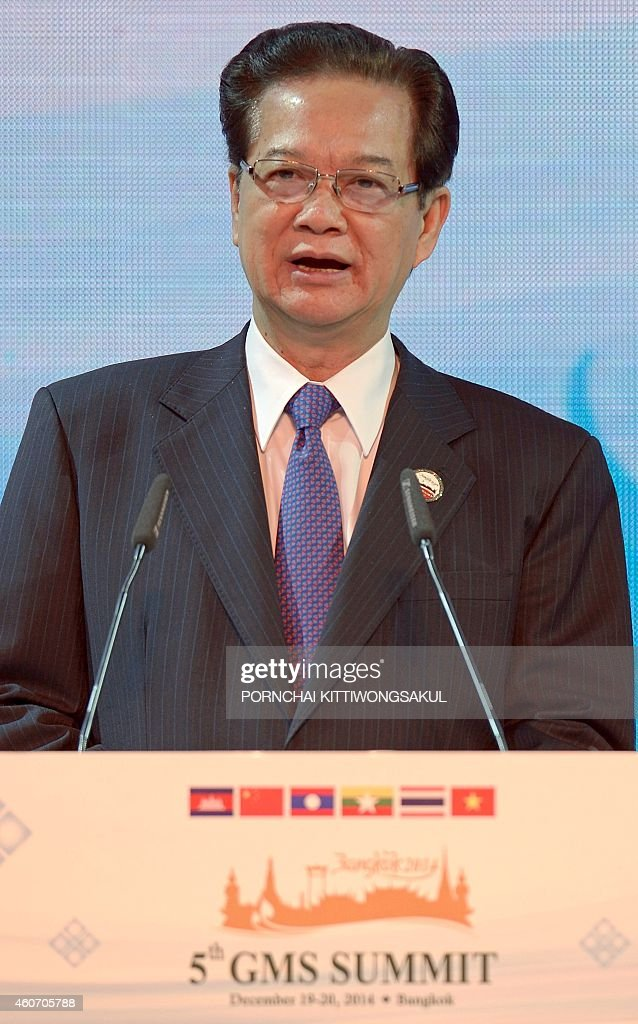 Vietnam Prime Minister <a gi-track='captionPersonalityLinkClicked' href=/galleries/search?phrase=Nguyen+Tan+Dung&family=editorial&specificpeople=544511 ng-click='$event.stopPropagation()'>Nguyen Tan Dung</a> speaks during the opening ceremony of the 5th Summit of the Greater Mekong Subregion Economic Cooperation Program in Bangkok on December 20, 2014. Leaders from the Mekong River area -- headed by Chinese premier Li Keqiang -- met to discuss the future of the waterway as Beijing eyes new hydropower energy and better infrastructure connections with its neighbours.