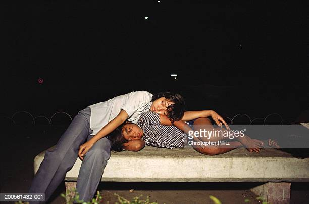 Vietnam, Saigon, homeless Amer-Asian children sleeping on streets