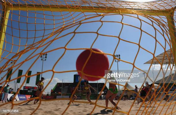Vietnam score a goal during the game between China and Vietnam in the Beach Handball event at AlMusannah Sports City during day three of the 2nd...