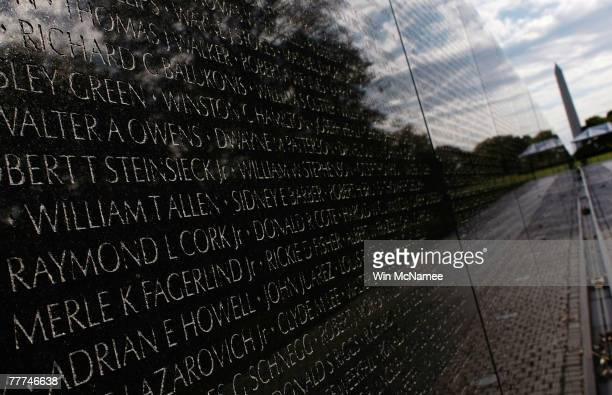 Vietnam Veterans Memorial stands with some of the more than 53000 names of US casualities carved into into it November 6 2007 in Washington DC The...