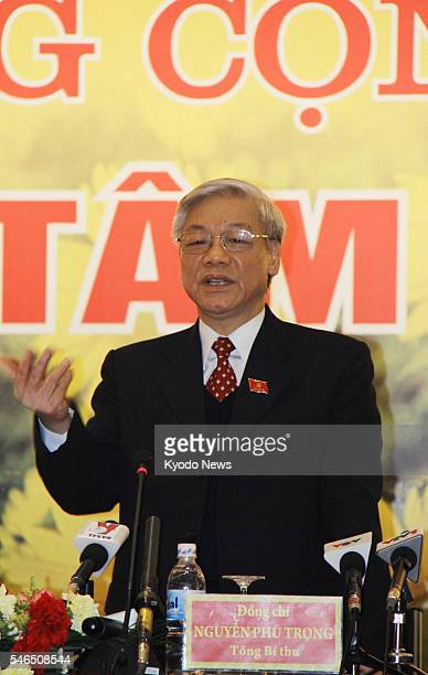HANOI Vietnam Vietnam's new leader Nguyen Phu Trong speaks at a press conference in Hanoi on Jan 19 after being elected as general secretary of the...