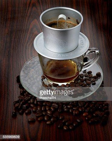 Vietnamese coffee brewing : Stock Photo