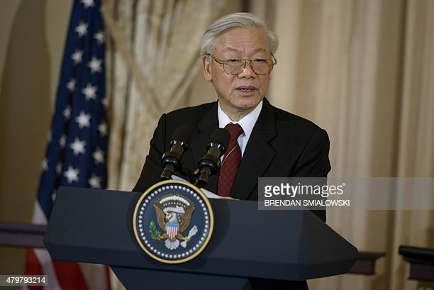 Vietnamese Communist Party General Secretary Nguyen Phu Trong speaks before a luncheon with US Vice President Joe Biden at the US State Department on...