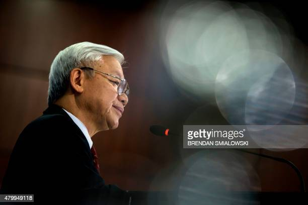 Vietnamese Communist Party General Secretary Nguyen Phu Trong speaks at the Center for Strategic and International Studies in Washington DC on July 8...