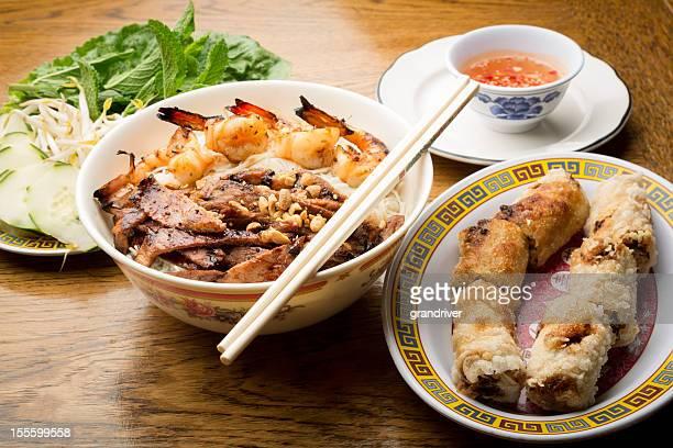 Vietnamese Pork and Shrimp Noodle Bowl with Egg Rolls