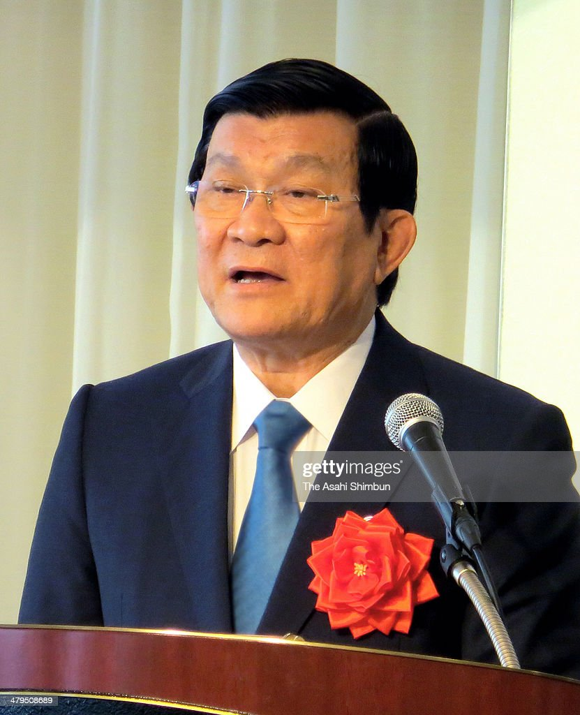 Vietnamese President Truong Tan Sang addresses on March 17, 2014 in Tokyo, Japan.