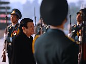 Vietnamese president Truong Tan Sang arrives at the National Convention Center to attend an official meeting marking the 70th anniversary of the...