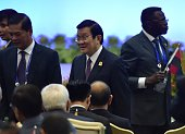 Vietnamese President Truong Tan Sang arrives to attend the opening of the Asian African Conference in Jakarta on April 22 2015 Asian and African...