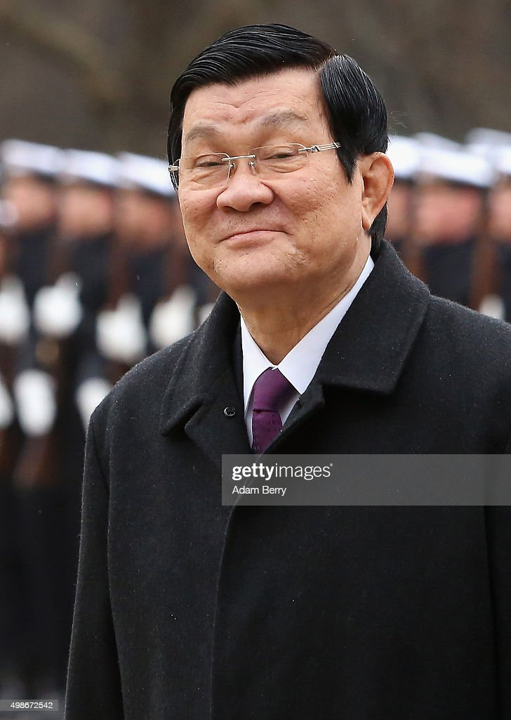 Vietnamese President Truong Tan Sang attends a military welcome ceremony at Bellevue Presidential Palace on November 25, 2015 in Berlin, Germany. Sang's visit is the first by a Vietnamese president since Germany was unified in 1990. Germany is Vietnam's largest trade partner in the European Union, and the country accounts for 19 percent of Vietnam's total trade with the EU.