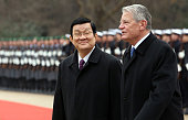 Vietnamese President Truong Tan Sang attends a military welcome ceremony with German President Joachim Gauck at Bellevue Presidential Palace on...