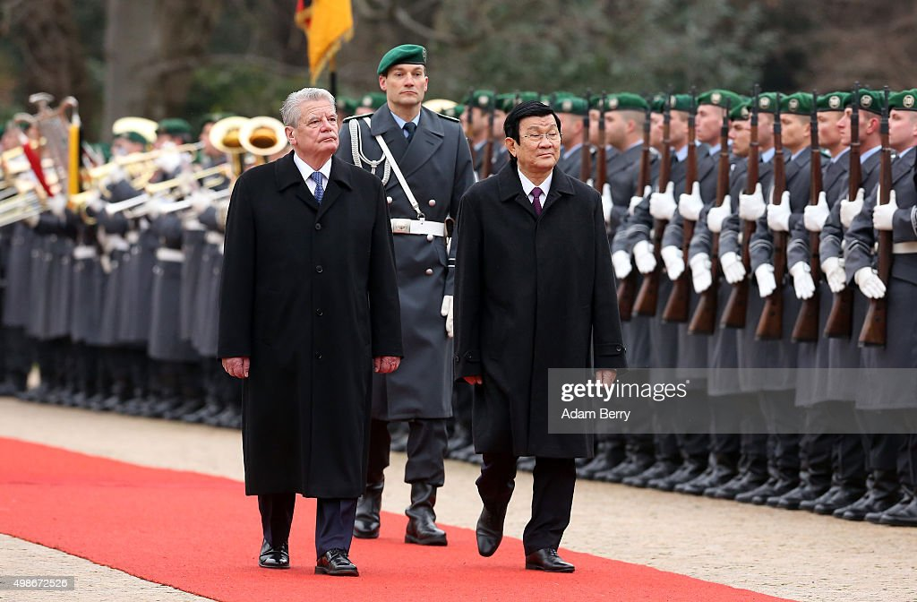 Vietnamese President Truong Tan Sang (R) attends a military welcome ceremony with German President Joachim Gauck at Bellevue Presidential Palace on November 25, 2015 in Berlin, Germany. Sang's visit is the first by a Vietnamese president since Germany was unified in 1990. Germany is Vietnam's largest trade partner in the European Union, and the country accounts for 19 percent of Vietnam's total trade with the EU.