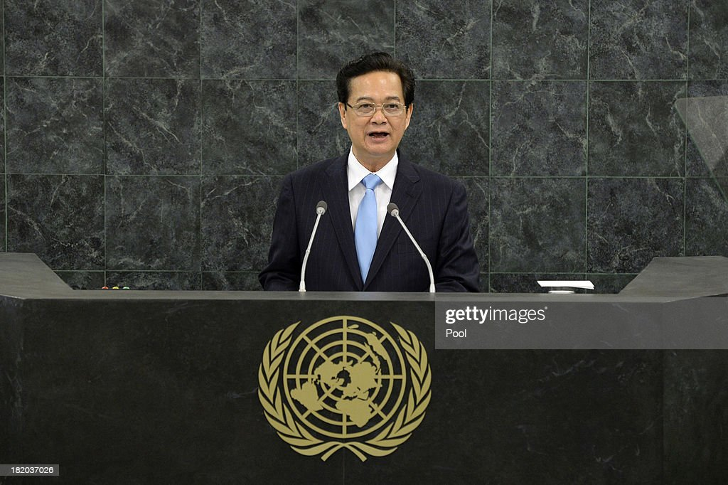 Vietnamese Prime Minister <a gi-track='captionPersonalityLinkClicked' href=/galleries/search?phrase=Nguyen+Tan+Dung&family=editorial&specificpeople=544511 ng-click='$event.stopPropagation()'>Nguyen Tan Dung</a> addresses the 68th United Nations General Assembly at U.N. headquarters on September 27, 2013 in New York City. Over 120 prime ministers, presidents and monarchs are gathering this week for the annual meeting at the temporary General Assembly Hall at the U.N. headquarters while the General Assembly Building is closed for renovations.