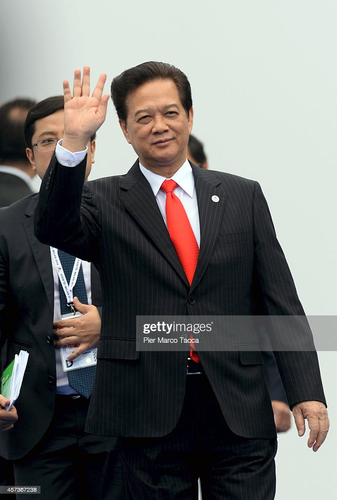 Vietnamese Prime Minister <a gi-track='captionPersonalityLinkClicked' href=/galleries/search?phrase=Nguyen+Tan+Dung&family=editorial&specificpeople=544511 ng-click='$event.stopPropagation()'>Nguyen Tan Dung</a> arrives at the10 ASEM Summit with 50 Heads Of State From Europe And Asia on October 16, 2014 in Milan, Italy.The Asia-Europe Meeting (ASEM) was initiated in 1996 when the ASEM leaders met in Bangkok, Thailand. ASEM is an informal trans-regional platform for dialogue and cooperation between Asia and Europe