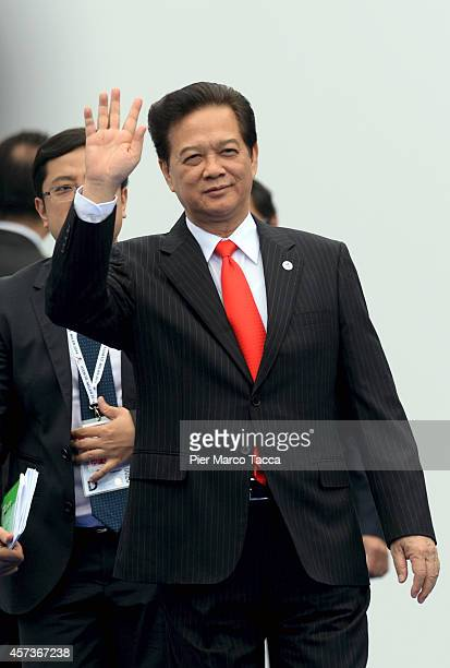 Vietnamese Prime Minister Nguyen Tan Dung arrives at the10 ASEM Summit with 50 Heads Of State From Europe And Asia on October 16 2014 in Milan...