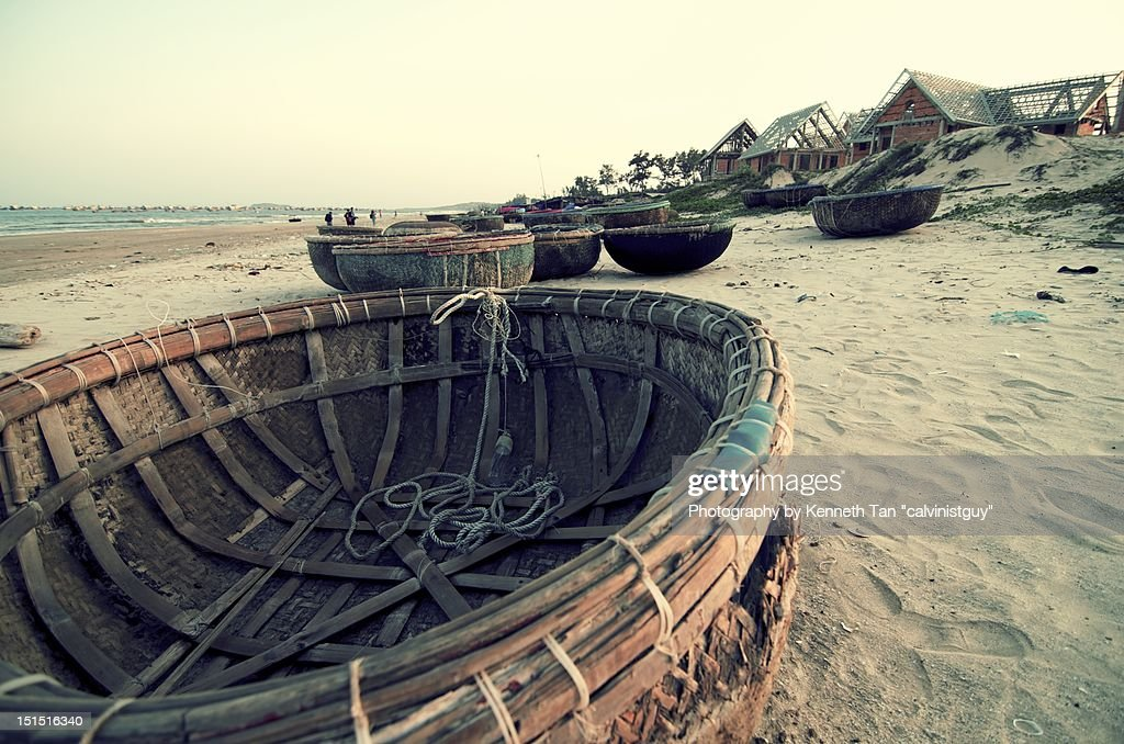 Vietnamese round boats : Stock Photo