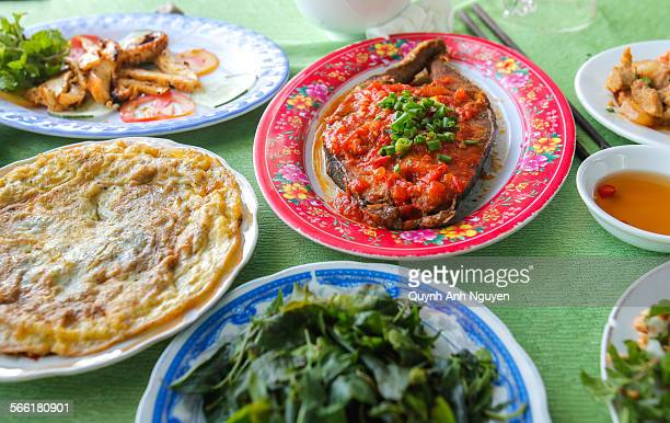 Vietnamese typical local meal for lunch, dinner