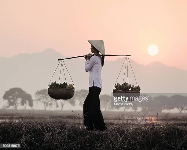 Vietnamese woman carrying baskets of bananas