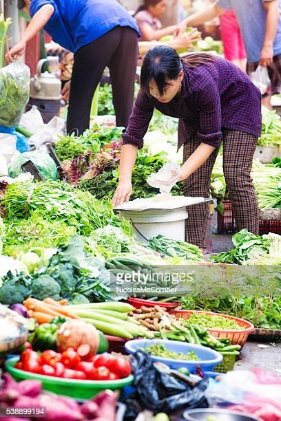 Vietnamese woman placing fresh tofu for display at street market