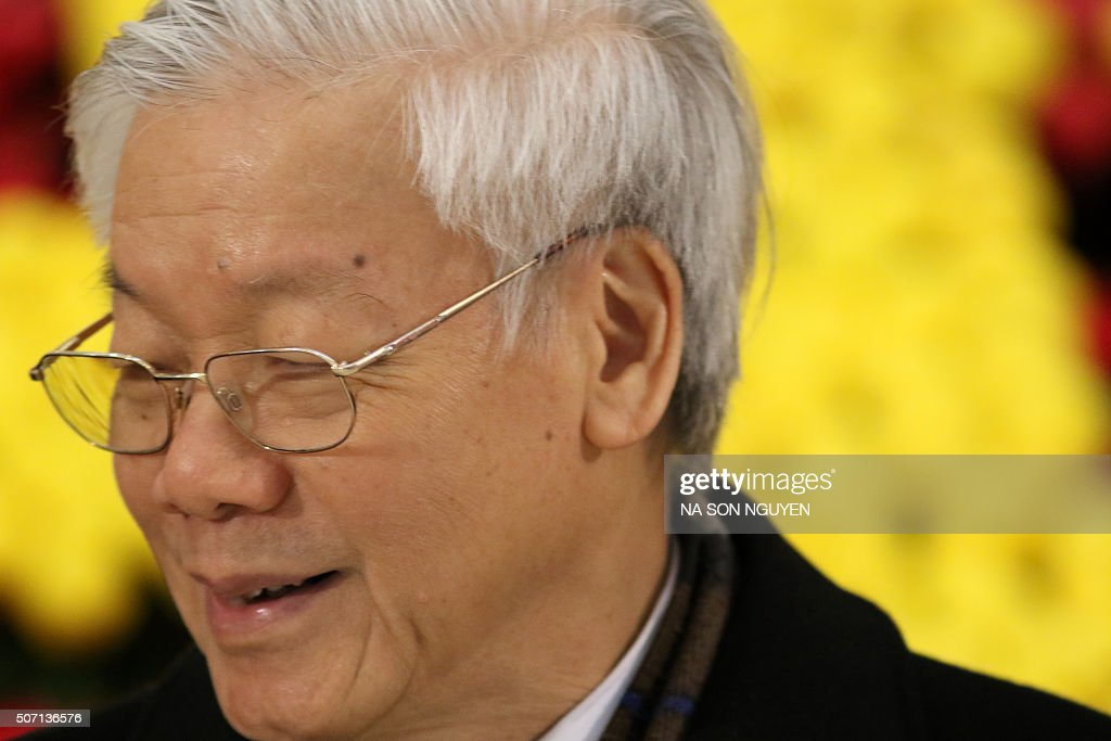 Vietnam's Communist Party (VCP) General Secretary <a gi-track='captionPersonalityLinkClicked' href=/galleries/search?phrase=Nguyen+Phu+Trong&family=editorial&specificpeople=537119 ng-click='$event.stopPropagation()'>Nguyen Phu Trong</a> is pictured at the National Convention Center as he attends the last day of the 12th National Congress of Vietnam's Communist Party (VCP) in Hanoi on January 28, 2016. Vietnam's top communist leader <a gi-track='captionPersonalityLinkClicked' href=/galleries/search?phrase=Nguyen+Phu+Trong&family=editorial&specificpeople=537119 ng-click='$event.stopPropagation()'>Nguyen Phu Trong</a> was re-elected on January 27 in a victory for the party's old guard which some fear could slow crucial economic reforms in the fast-growing country. AFP PHOTO / POOL / Na Son Nguyen / AFP / POOL / Na Son Nguyen