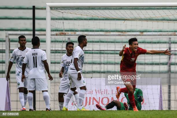 Vietnam's Doan Van Hau celebrates a goal against East Timor during their men's football Group B round match at the 29th Southeast Asian Games at...