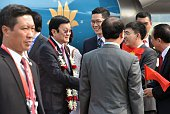 Vietnam's President Truong Tan Sang arrives at Halim airport in Jakarta on April 21 2015 ahead of the opening of the AsianAfrican Conference Asian...