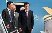 Vietnam's President Truong Tan Sang disembarks from an aircraft after arriving at Halim airport in Jakarta on April 21 2015 ahead of the opening of...