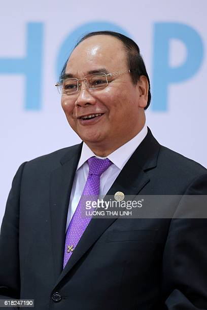 Vietnam's Prime Minister Nguyen Xuan Phuc speaks during a press conference after the 8th CambodiaLaosMyanmarVietnam Summit and the 7th AyeyawadyChao...