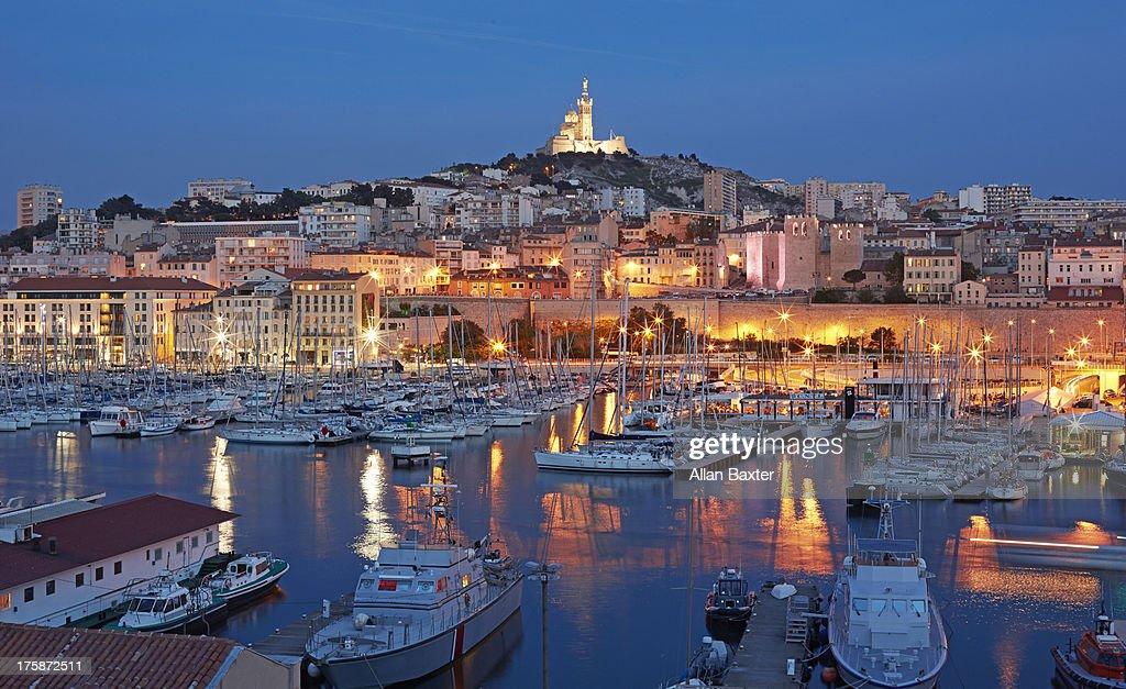 Vieux Port and Notre Dame de la Garde at night